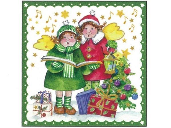Postkarte Gollong Weihnachten 14x14cm zwei Engel mit Geschenken