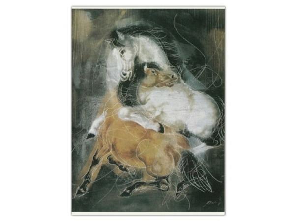 Postkarte Art Bula 10,5x14,8cm blaues Fahrrad Fahrradständer