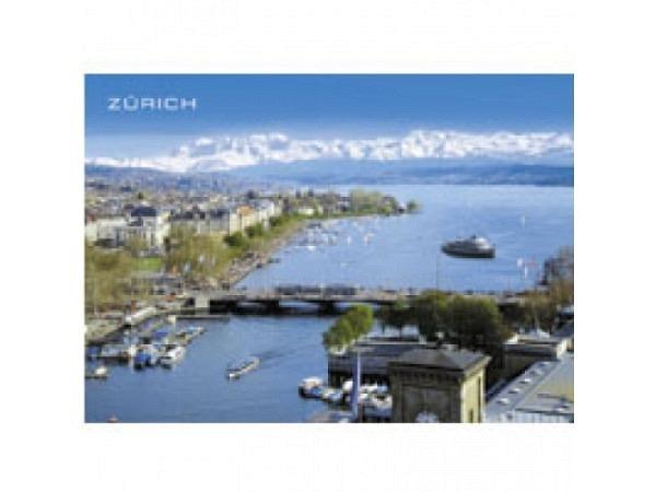 Postkarte Zürich A6 Stadt Zürich von der Vogel perspektive