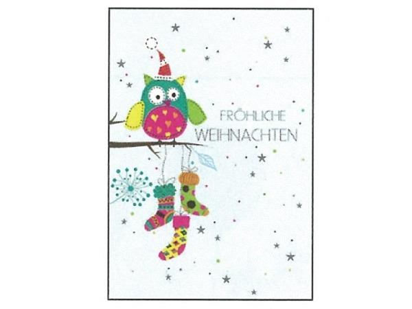 Postkarte Gollong Weihnachten A6 Eule mit Socken
