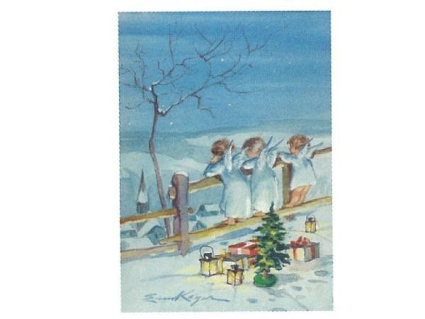 Postkarte Art Bula 10,5x14,8cm kleine Engel am Zaun Päckchen