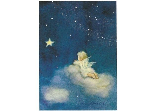 Postkarte Art Bula 10,5x14,8cm Engelchen liegt auf Wolke