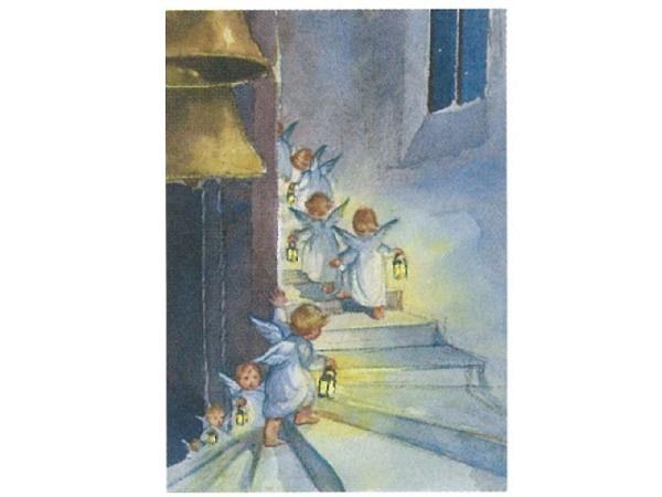 Postkarte Art Bula 10,5x14,8cm Engel Treppe eines Kirchturm