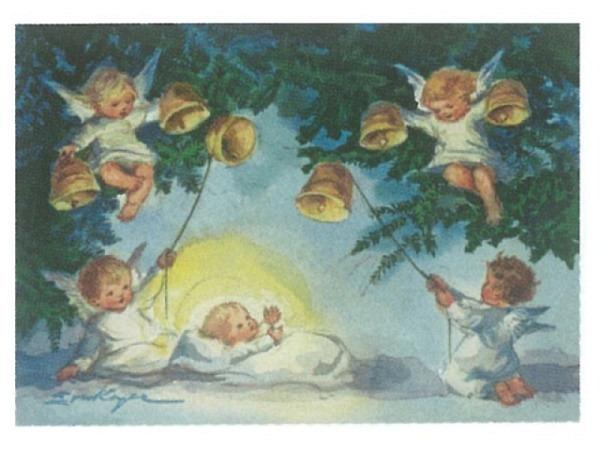 Postkarte Art Bula 10,5x14,8cm kleine Engel am Zaun, Vögel