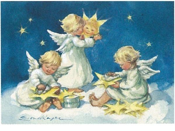 Postkarte Art Bula 10,5x14,8cm drei Engel polieren Sterne