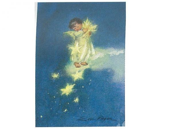 Postkarte Art Bula 10,5x14,8cm Engel stehen auf einer Wolke
