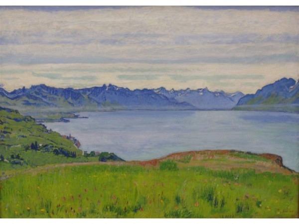 Postkarte Kunstverlag Ferdinand Hodler Landschaft am Genfer…