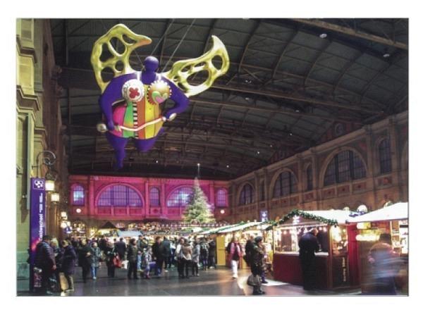 Postkarte Zürich A6 Weihnachtsmarkt im Hauptbahnhof, Zürich, der Sch..
