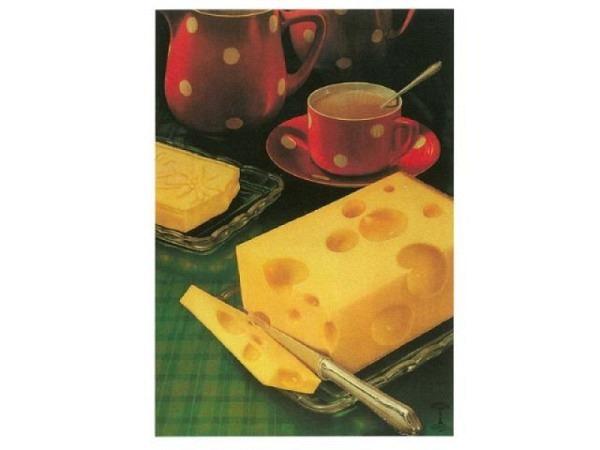 Postkarte Käse Union A6, bedruckt mit Käse Union und Kaffee