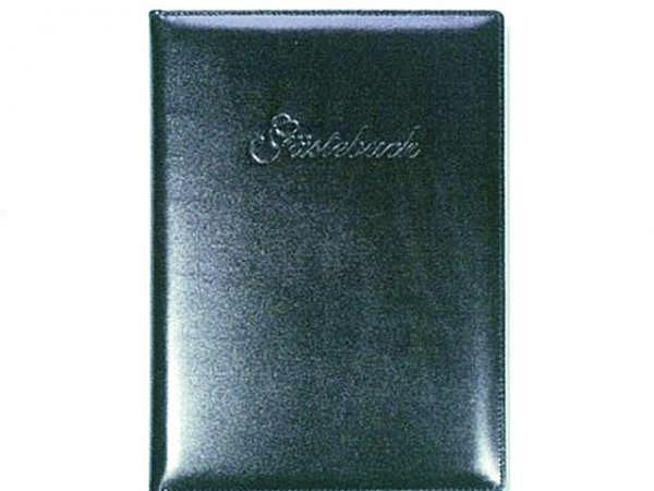 Gästebuch ASL Rindleder Manhattan glatt schwarz 21x30 cm, 96 Blatt naturweiss unliniert, mit Prägung