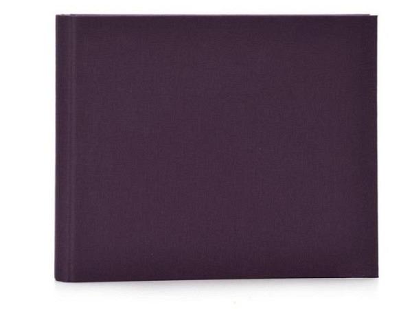 Gästebuch Goldbuch Linum brombeere 29x23cm mit 50 weissen Seiten 210g/qm, mit verdeckter Spiralbindung, in Kartonumband mit Leinenbezug, Silberprägung Gäste