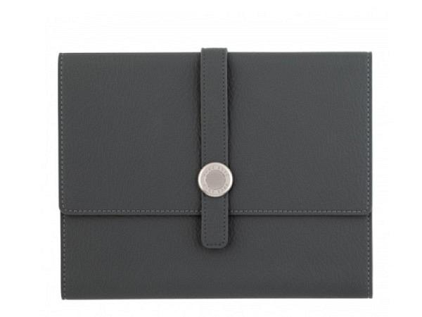 Blockmappe ASL Meriva schwarz A4, aus vollnarbigem schwarzem Leder, mit Reissverschluss, Platz für e