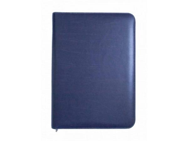 Blockmappe ASL Kabana Rindleder blau A4, grauer Naht, mit Reissverschluss, mit A4-Block auf der rech