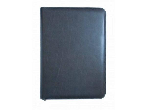 Blockmappe ASL Kabana Rindleder braun A4, grauer Naht, mit Reissverschluss, mit A4-Block auf der