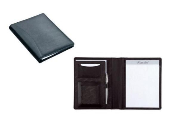 Blockmappe Alassio Bormio Lederimitat A5 schwarz mit Block A5 und A5-Einschubfach, Visitenkartenfach und Klarsichtfach. Masse geschlossen BxTxH 230x27x190mm