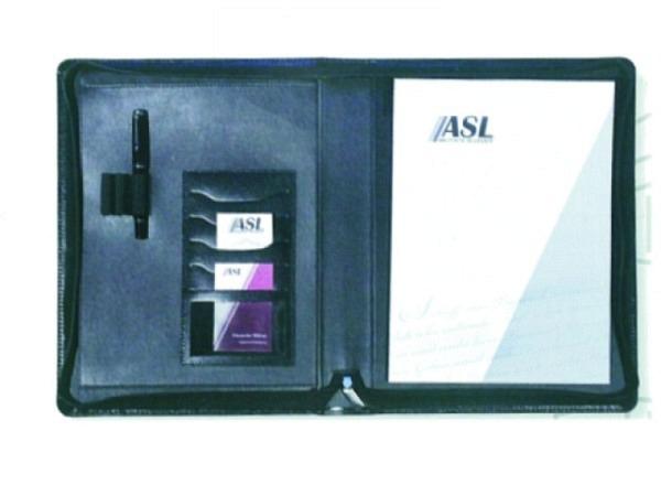 Schreibmappe ASL Rindleder Manhattan schwarz, mit Reissverschluss, 3 Stiftschlaufen, OHNE Ringmechanik
