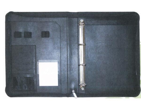 Konferenzmappe ASL Meriva schwarz A4 aus vollnarbigem schwarzem Leder, mit Reissverschluss, mit 4-Ri
