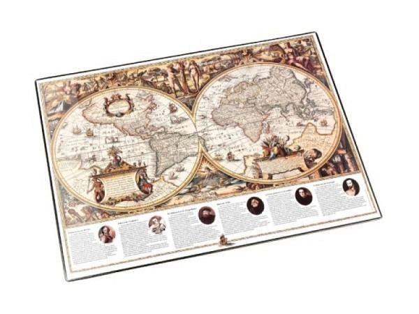 Schreibunterlage Läufer 40x53cm Weltkarte Antik
