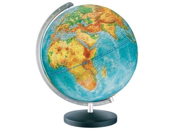 Globus Columbus Duplex 26cm silber. Metall, Akrylglaskugel