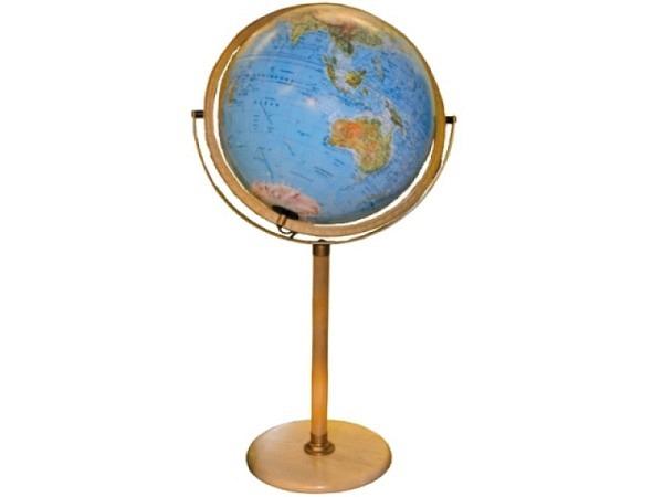 Globus Columbus Messing-Säule vegetationsgeographisch d:34cm