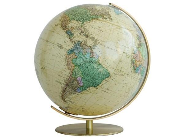 Globus Columbus Royal 34cm Durchmesser Meridian und Fuss mattmessingfarbe, Politisches Kartenbild, b