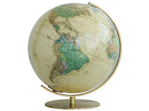 Globus Columbus Royal 40cm Durchmesser Meridian und Fuss aus Metall Hochglanz-Messing, Akrylglas, Po