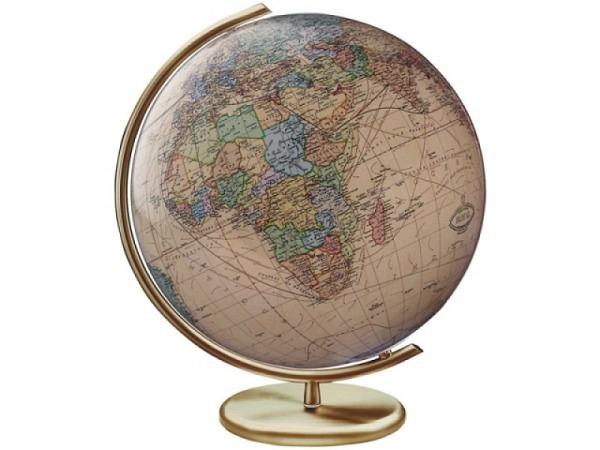 Globus Columbus Royal 40cm, mattgold, Kristallglas