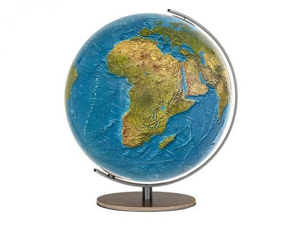 Globus Columbus Duorama, 34cm Nussbaum-Fuss, Akrylglaskugel