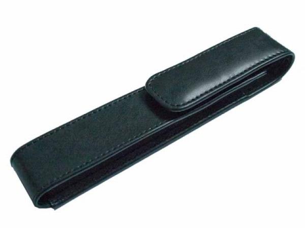 Stiftetui ASL Cardiff Leder glatt schwarz Druckknopf 1 Stift