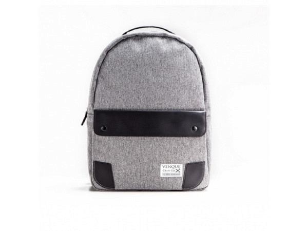 Rucksack Venque Classic Black Leather Edition grau 45x30cm