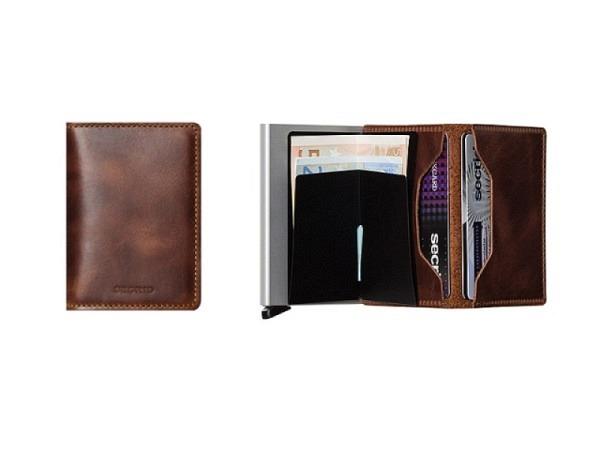 Kreditkartenetui Secrid Slimwallet vintage braun, Leder