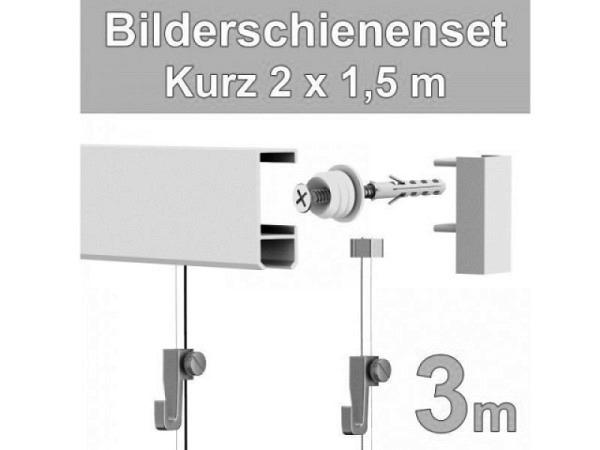 Bilderschiene Classic 8,5x23mm weiss Set 2x150cm lang
