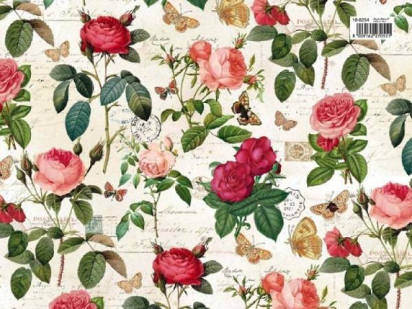 Geschenkpapier Kartos Rosen rosa und rot mit Schmetterlingen