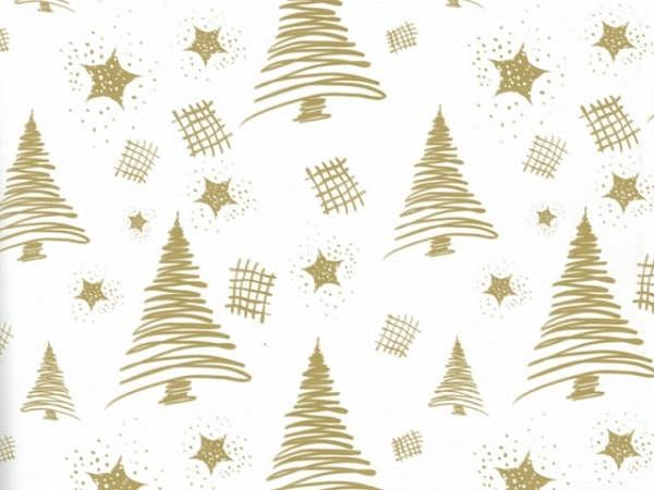 Geschenkpapier Rotolux christmas, pencil tree white/gold