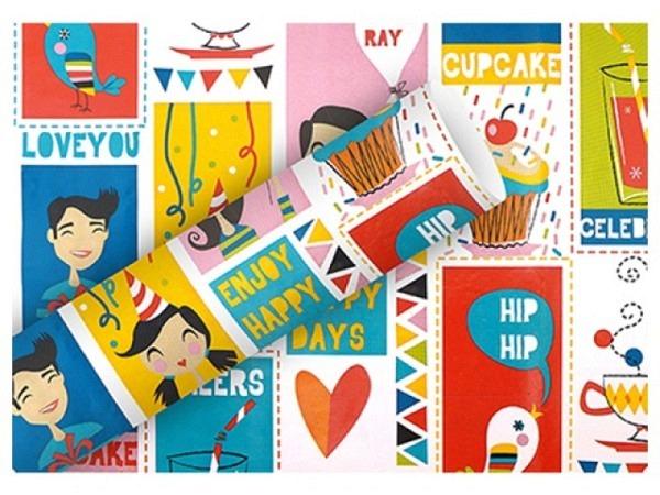 Geschenkpapier Rotolux holographic kangourou dots black