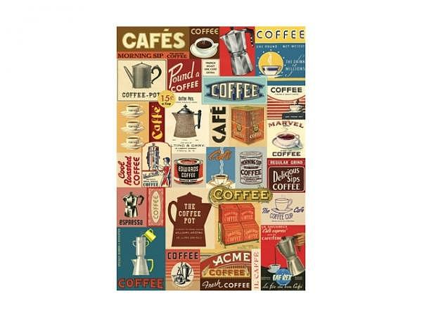 Geschenkpapier Cavallini Coffee 50x70cm, chamois Vintagestil