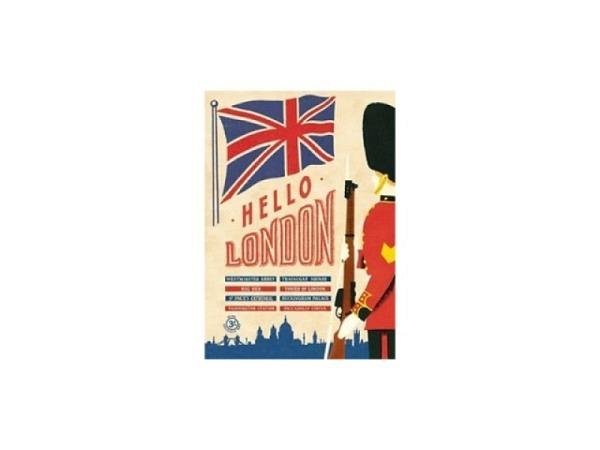 Geschenkpapier Cavallini Hello London mit englischer Flagge