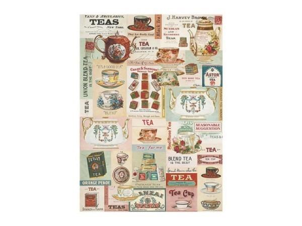 Geschenkpapier Cavallini Vintage Tea viele versch. Teekrüge