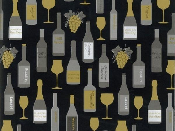 Geschenkpapier Rotolux everyday coated, goldene Weinflaschen