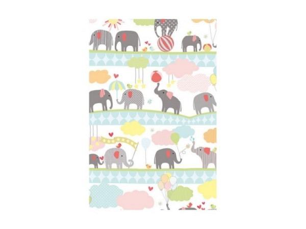 Geschenkpapier Stewo Elvin Elefanten in Pastellfarbe