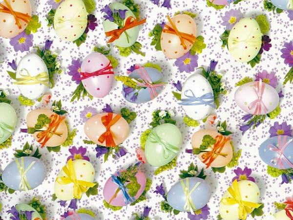 Geschenkpapier Stewo Mareta, weiss mit bunt bemalten Eier