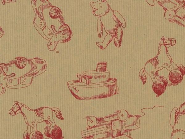 Geschenkpapier Rotolux everyday Kraft, Toys kraft red
