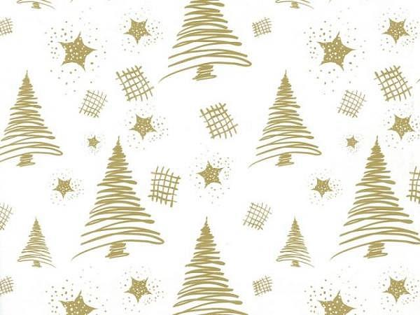 Geschenkpapier Rotolux christmas coated pencil tree white/gold
