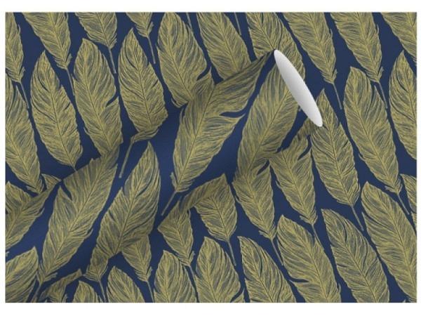 Geschenkpapier Braun Company indigo Rolle 70x2m, blau mit goldige Federn bedurckt, 80g/qm