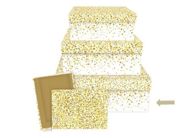 Geschenkschachtel Stewo Kalifa, 20x20x13,5cm, gelb, Blumen