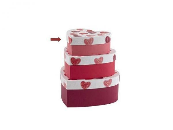 Geschenkschachtel Artebene Herz rot 15,5x6x15,5cm Herzform