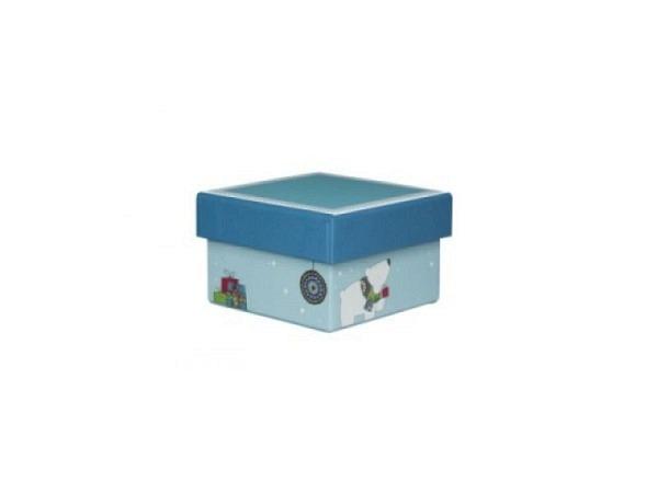 Geschenkschachtel Artoz Nanoq eckig XS Eisbär 7,5x7,5x4,5cm, hellblau mit Kindermotiv, azurblauer St
