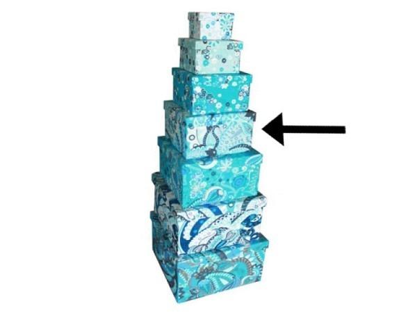 Geschenkschachtel Blue Ornaments aus Indien 27x27x17cm