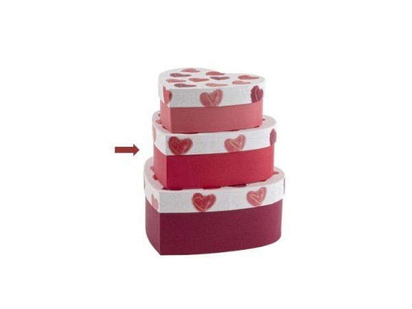 Geschenkschachtel Artebene Herz rot 22x9x21cm in Herzform