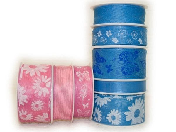 Geschenkband Flowers Pink-Blau Sortiment